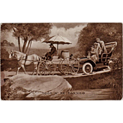 Vintage Postcard with Horse Cart and Old Automobile - 1909