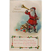Vintage Christmas Postcard with Santa Claus - 1918