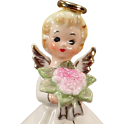 Vintage Angel Figurine – Norcrest Angel with Pink Flower Bouquet