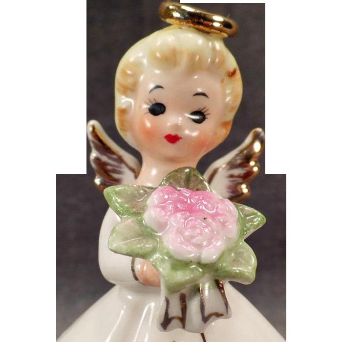 Vintage Angel Figurine – Norcrest Angel with Pink Flower Bouquet