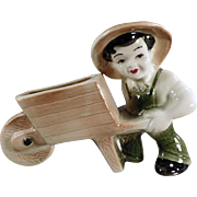 Vintage Pottery Planter - Farmer Boy with Wheelbarrow - Ohio Pottery