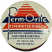 Vintage Typewriter Ribbon Tin-  Perm-O-Rite Ribbon Tin