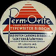Vintage Typewriter Ribbon Tin-  Perm-O-Rite Ribbon Tin