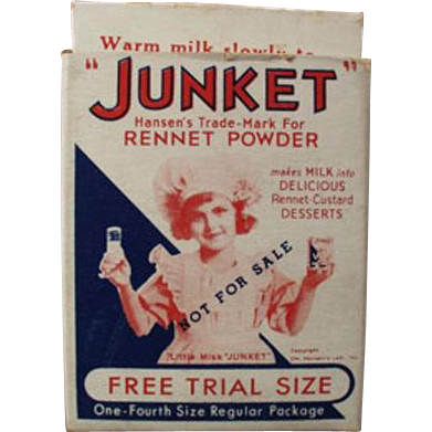 Vintage Junket Trial Sample Box - Miniature Box with Little Miss Junket