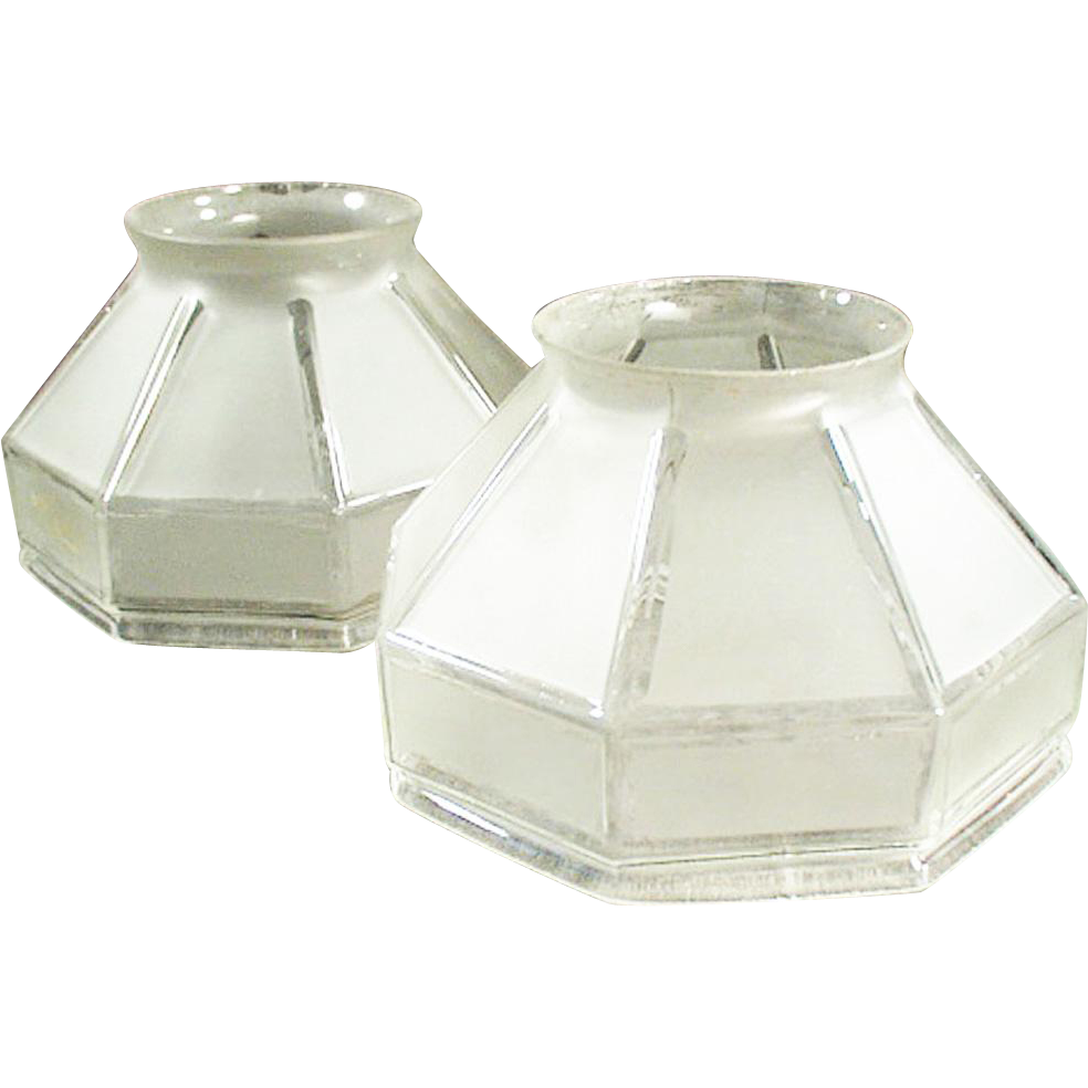 Pair of Vintage Light Shades - Large Neck Size - Frosted Glass with Angular Shape