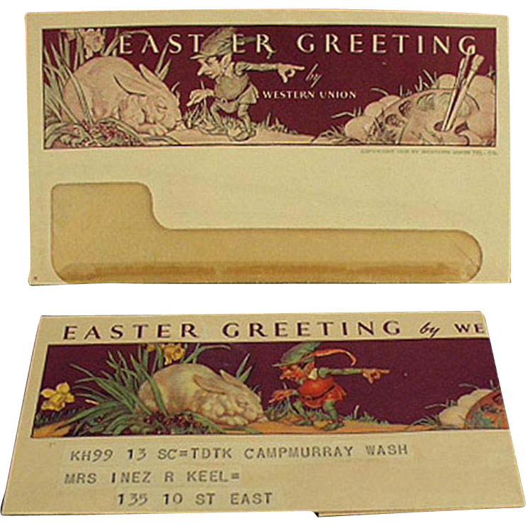 Vintage Western Union Telegram - Norman Rockwell Easter Design