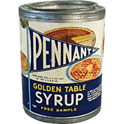Vintage Syrup Sample Tin - Pennant Golden Table Syrup  - 1937