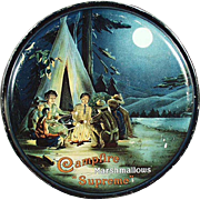Vintage Campfire Supreme Marshmallow Tin with Camping Scene
