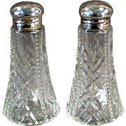 Vintage Salt & Pepper Set with  Sterling Silver Lids