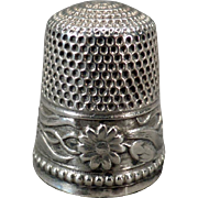 Vintage Sterling Thimble – Pretty Floral Design