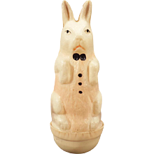 Vintage Roly Poly White Rabbit Celluloid Miniature - Old Easter Bunny Toy