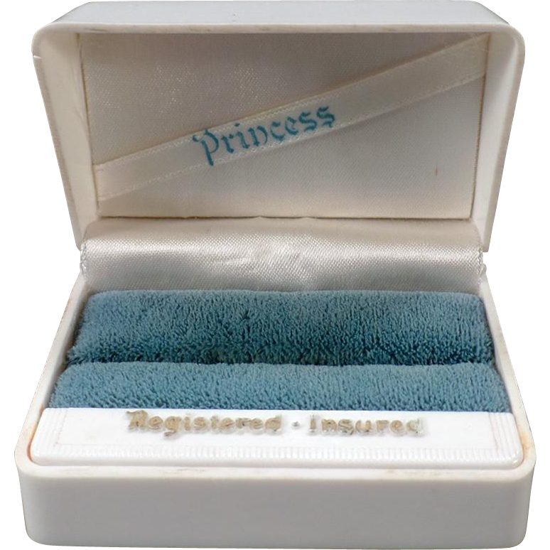 Vintage Princess Ring Box - White Bakelite Jewelry Box with Embossed Lid - Holds Two Rings