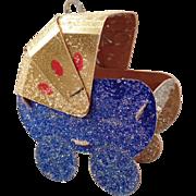 Vintage Baby Buggy Christmas Ornament – N.O.S. - N.O.S. - Colorful Cardboard Xmas Tree Ornament