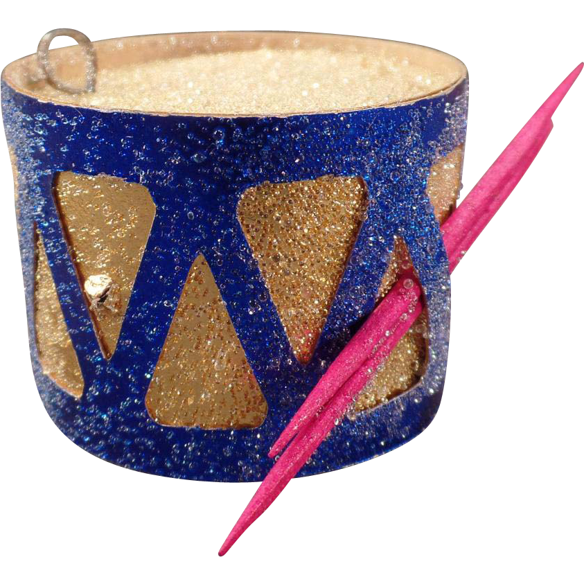 Vintage Toy Drum Christmas Ornament – N.O.S. - Colorful Cardboard Xmas Tree Ornament with Venetian Dew