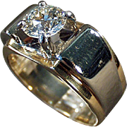 Man's Vintage Diamond Ring - 14k Gold and Palladium  - 1.85 Carat Diamond Ring