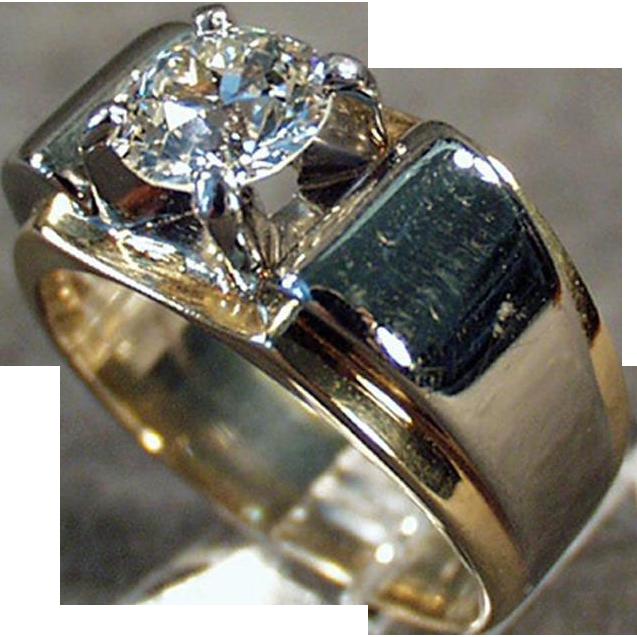 Man's Vintage Diamond Ring - 14k Gold and Palladium  - 1.85 Carat Diamond Ring