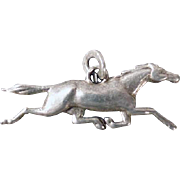 Sterling Silver Vintage Horse Charm - Dimensional Running Horse at Full Stride Gallop