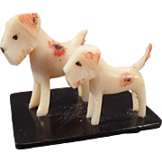 Vintage Celluloid Miniature Toy - 2 Celluloid Terrier Dogs