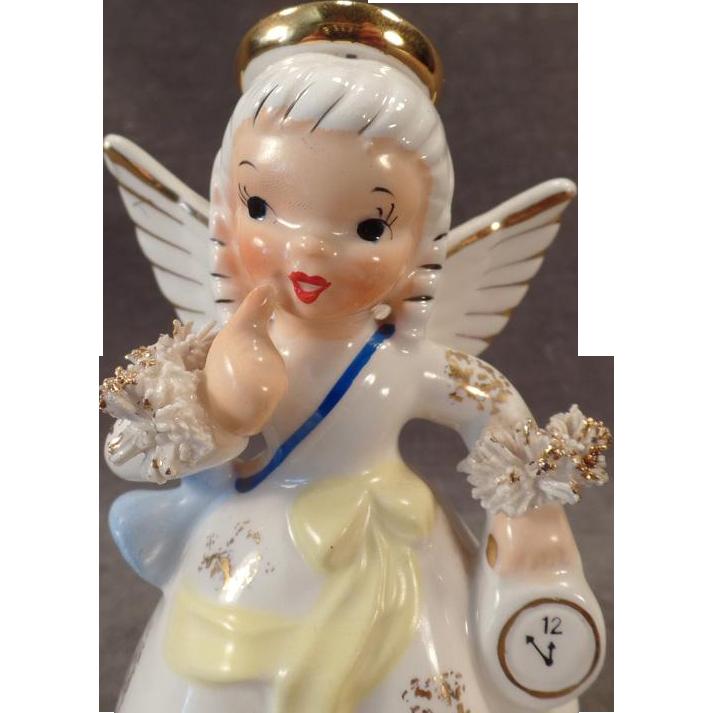 Vintage Birthday Angel Porcelain Figure – January Birthday Girl - Napco