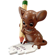 Vintage Josef Original Mouse Figure – Mouse with Pencil – I Love You Note