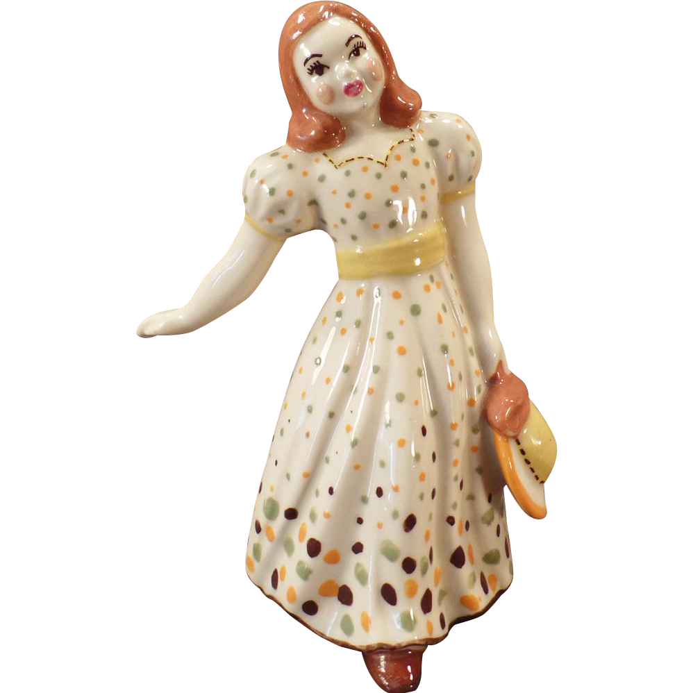 Vintage California Pottery Figurine - Young Girl in Polka Dot Dress