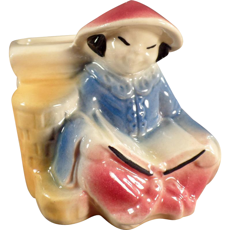 Vintage Shawnee Planter - Oriental Girl Reading a Book - Shawnee Pottery
