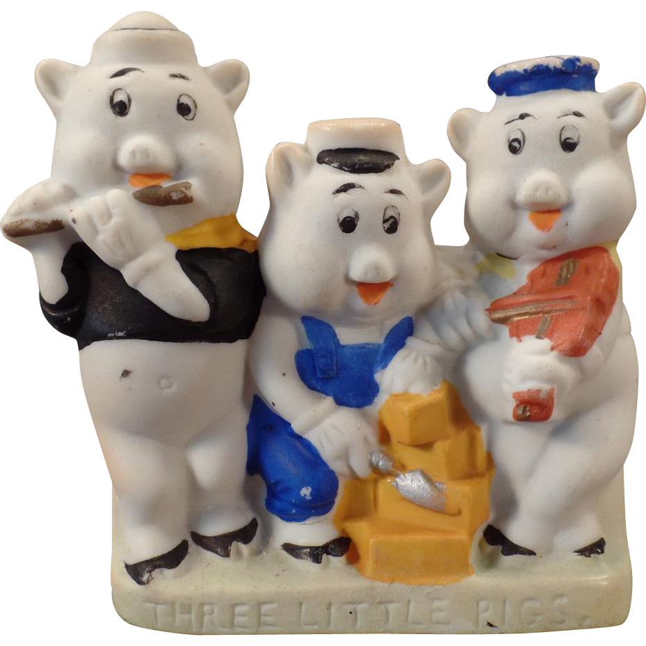 Vintage Toothbrush Holder – Walt Disney Three Little Pigs Bisque