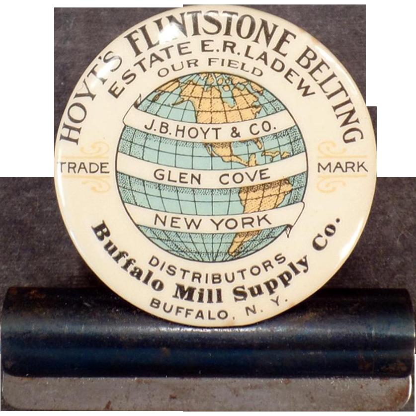 Vintage Advertising Bill Clip – Hoyt's Flintstone Belting – Celluloid Advertising