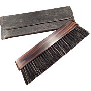 Vintage Clothes Brush with Original Travel Pouch – Natural Ebony Wood Handle