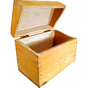 Vintage Oak File Box for Kitchen or Office - Standard Index Card Size