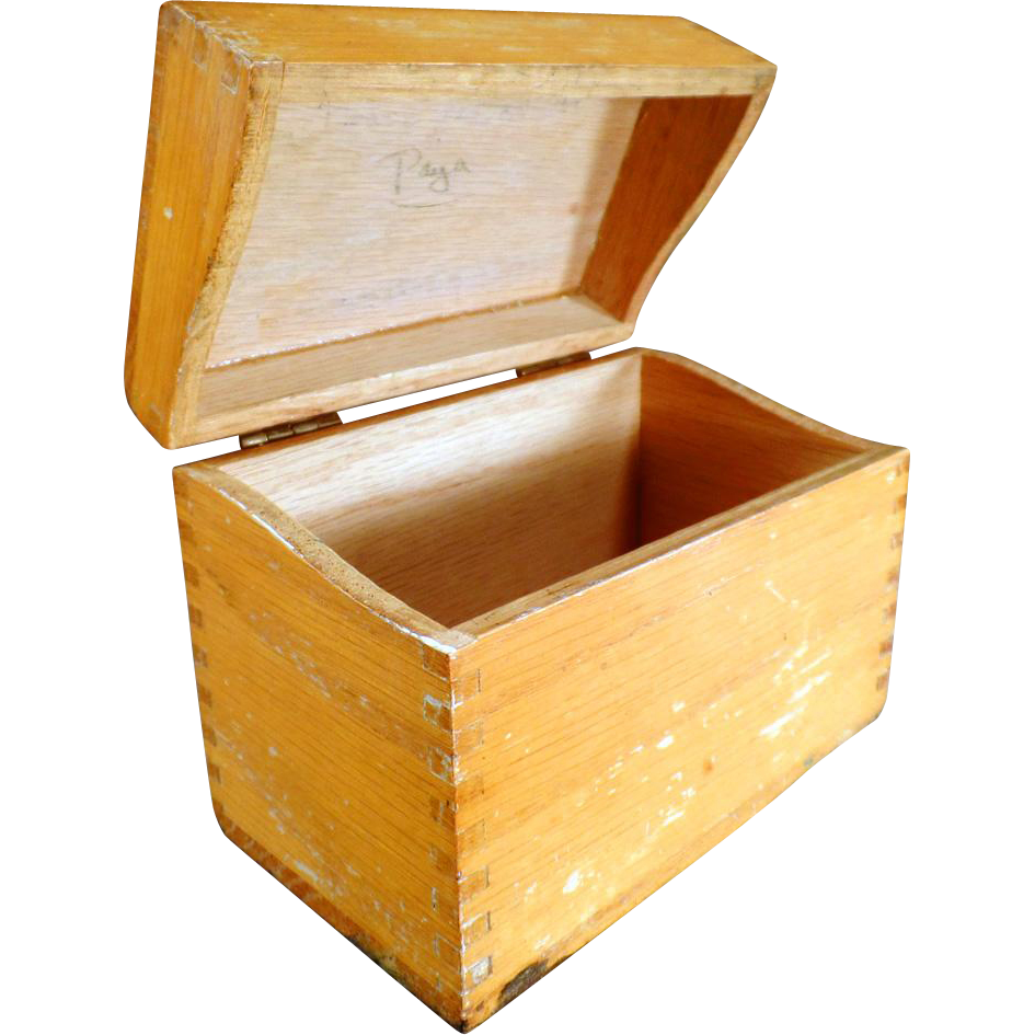 Vintage Oak File Box for Kitchen or Office - Standard Index Card Size
