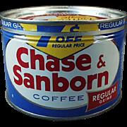 Vintage Key Wind Coffee Tin - Old Chase & Sanborn 1 Pound Coffee Tin