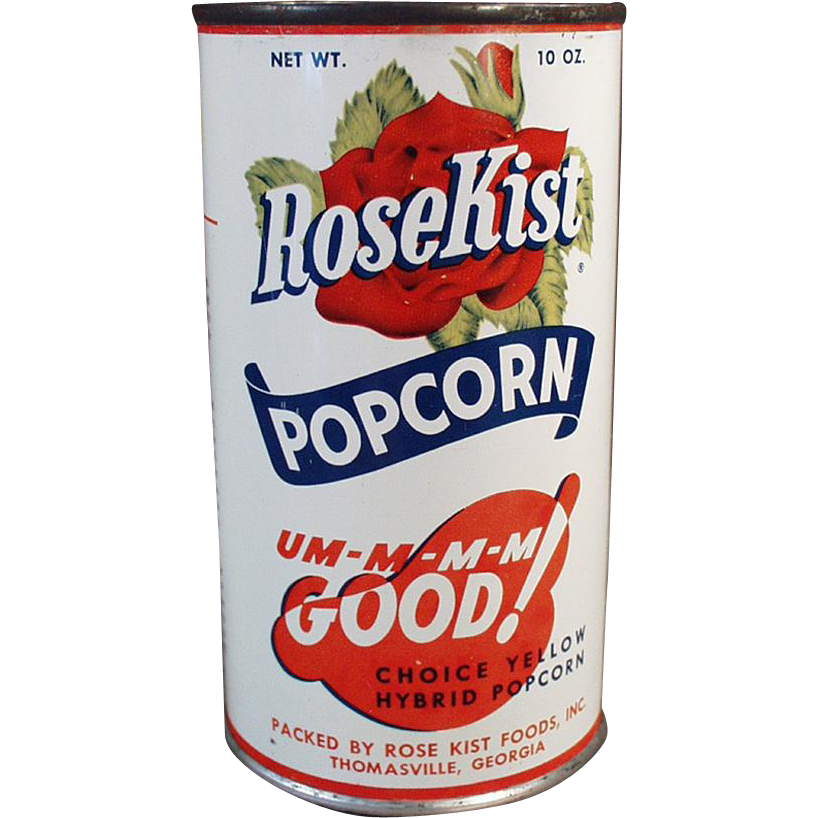 Vintage Popcorn Tin - Rose Kist Popcorn - Full Unopened Tin