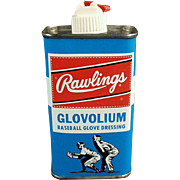 Vintage Rawlings Glovolium Tin - Leather Baseball Glove Dressing Tin