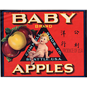 Vintage Crate Label - Baby Brand Apples Advertising