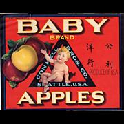 Vintage Crate Label - Baby Brand Apples Advertising