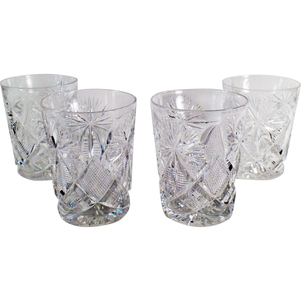 Vintage Set of 4 Libbey Cut Glass Highball Glasses - 6oz. - Set of Four