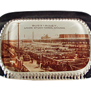 Vintage Glass Paperweight - Busy Alley - Union Stock Yards of Chicago