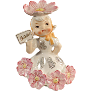 Vintage Flower Girl Porcelain - Month of October Birthday Girl