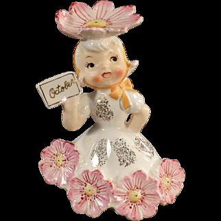 Vintage Flower Girl Porcelain - Month of October Birthday Girl