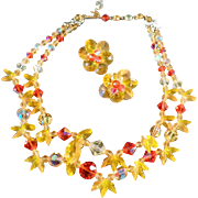 Vintage Choker Necklace & Earring Suite - Outstanding Yellow and Orange Colors