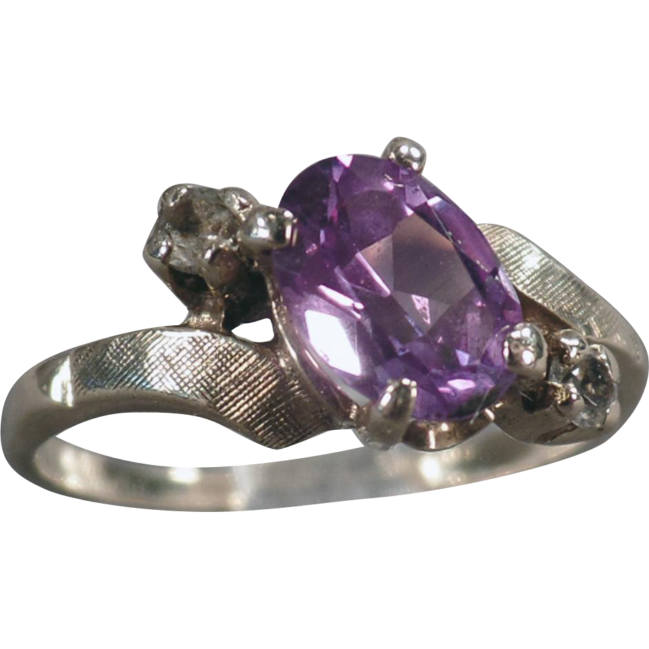 Vintage Amethyst Ring - 10k Yellow Gold Bypass Ring - February Birthstone, Amethyst