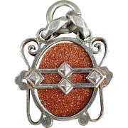 Vintage Goldstone Watch Fob - Goldstone in Unusual Silver Colored Mount