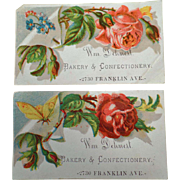 Two Vintage Trade Cards - Dehnert Bakery & Confectionery