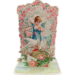 Vintage 3-D Foldout Valentine with Cherub, Doves and Lots of Flowers