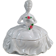 Vintage White Porcelain Dresser Box - Kaldun & Bogle Lady with Rose