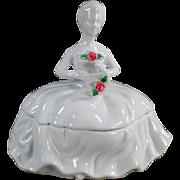 Vintage White Porcelain Dresser Box - Kaldun & Bogle Lady with Rose