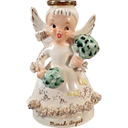 Vintage March Angel Figure with Irish Shamrock Bouquets