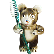 Vintage Toothbrush Holder - Figural Bear - Victoria Ceramics