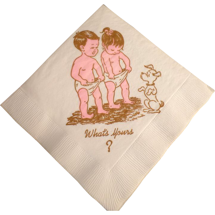 Vintage Hoohah Nipkins - Novelty Cocktail Party Napkins - 1963